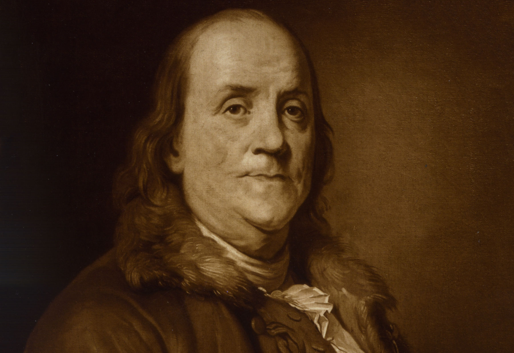 Benjamin Franklin, head and shoulders portrait, facing right
