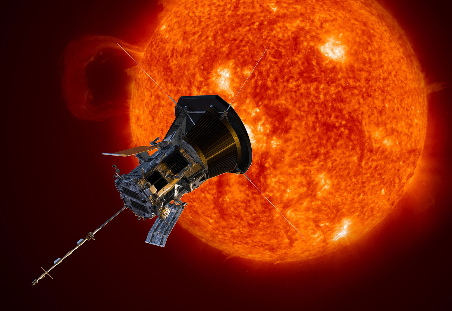 Artist's impression of NASA's Parker Solar Probe spacecraft on approach to the Sun