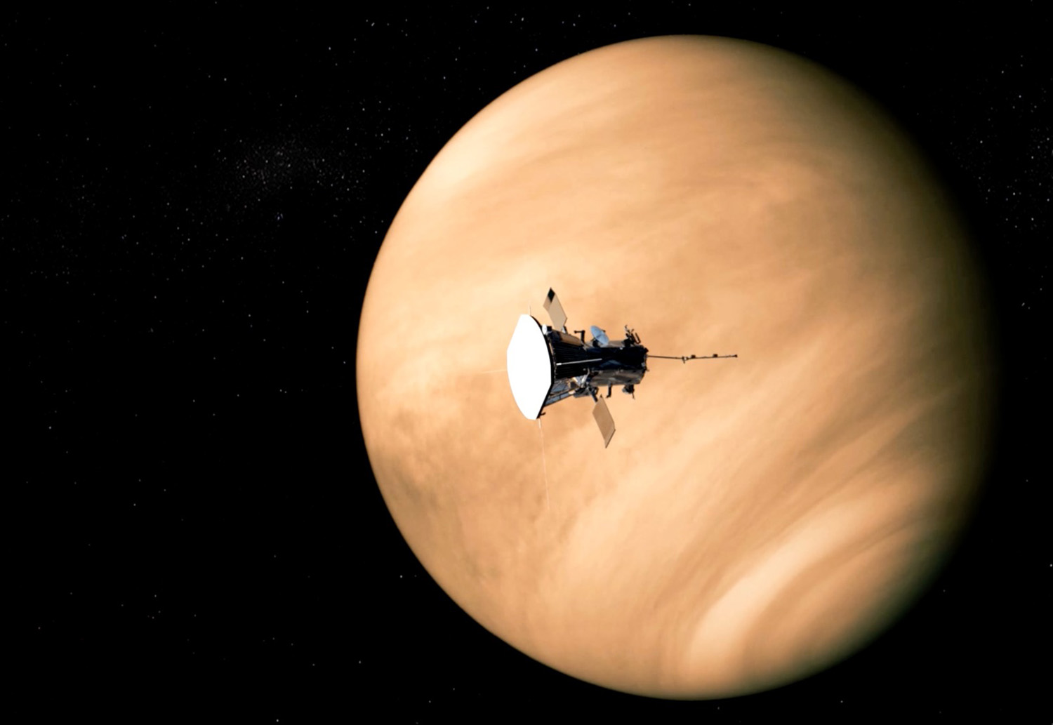 Artist rendering of Parker Solar Probe Passing Venus