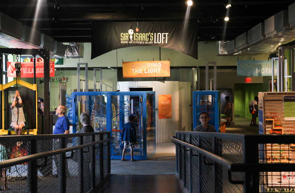 overview shot of Sir Isaac's Loft exhibit at The Franklin Institute