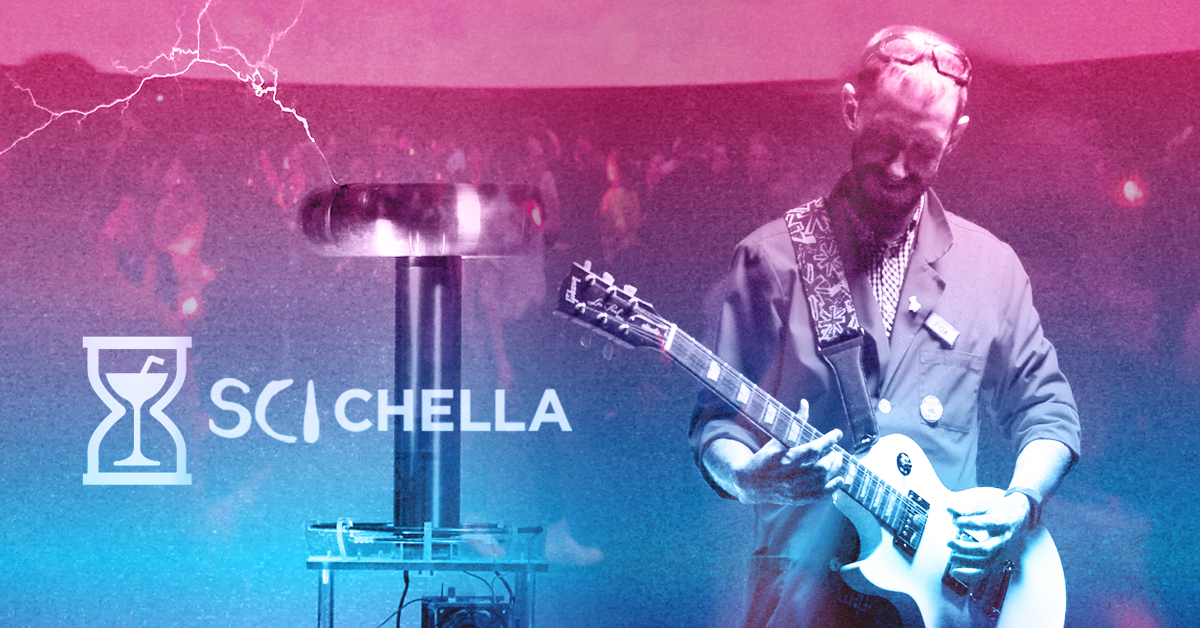 Science Interpreter playing guitar with Sci-Chella logo