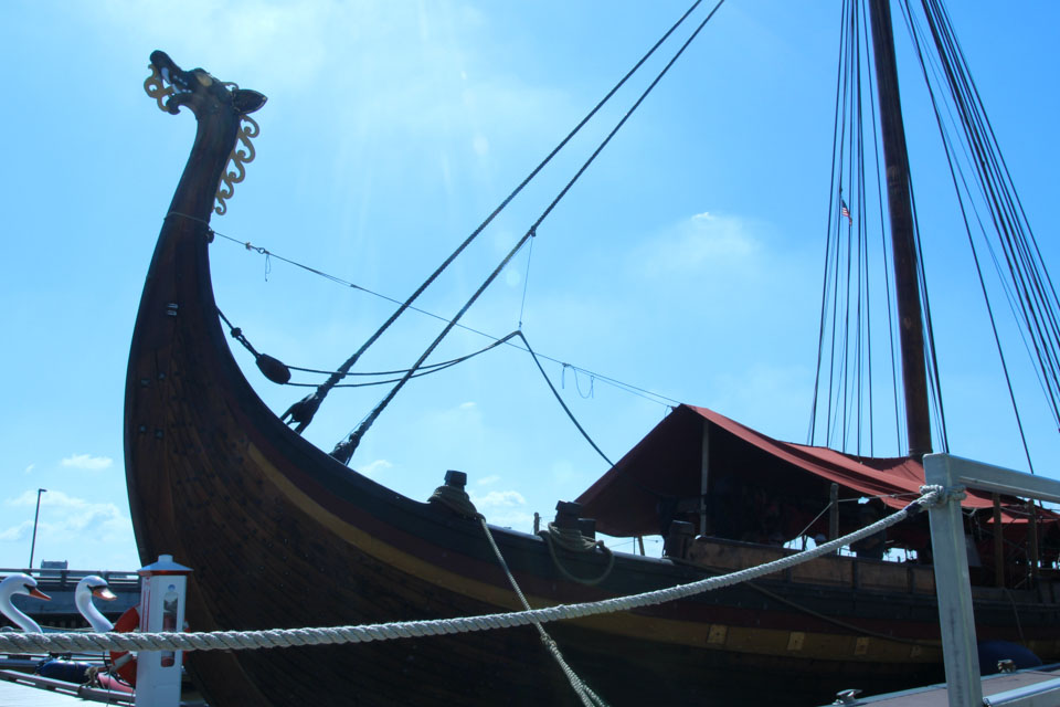 view of the Draken viking ship from Penn's Landing dock