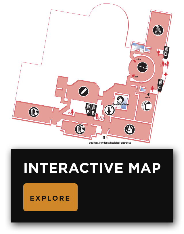 Map of the first floor, showing the locations of major, permanent exhibits, the Planetarium, and Foucault's Pendulum.