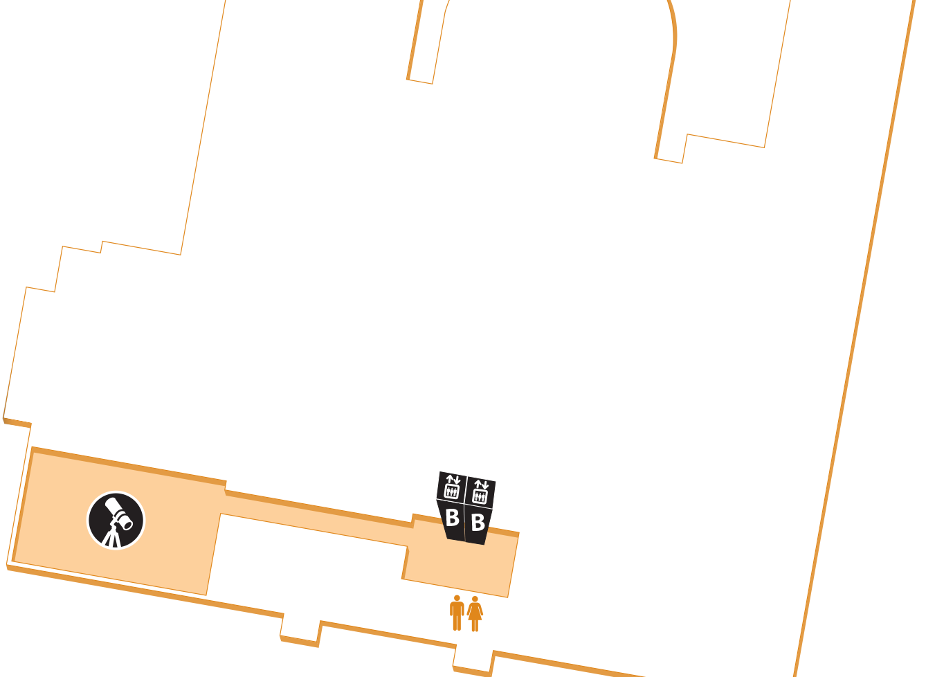 Map of the fourth floor, showing the location of the Observatory.