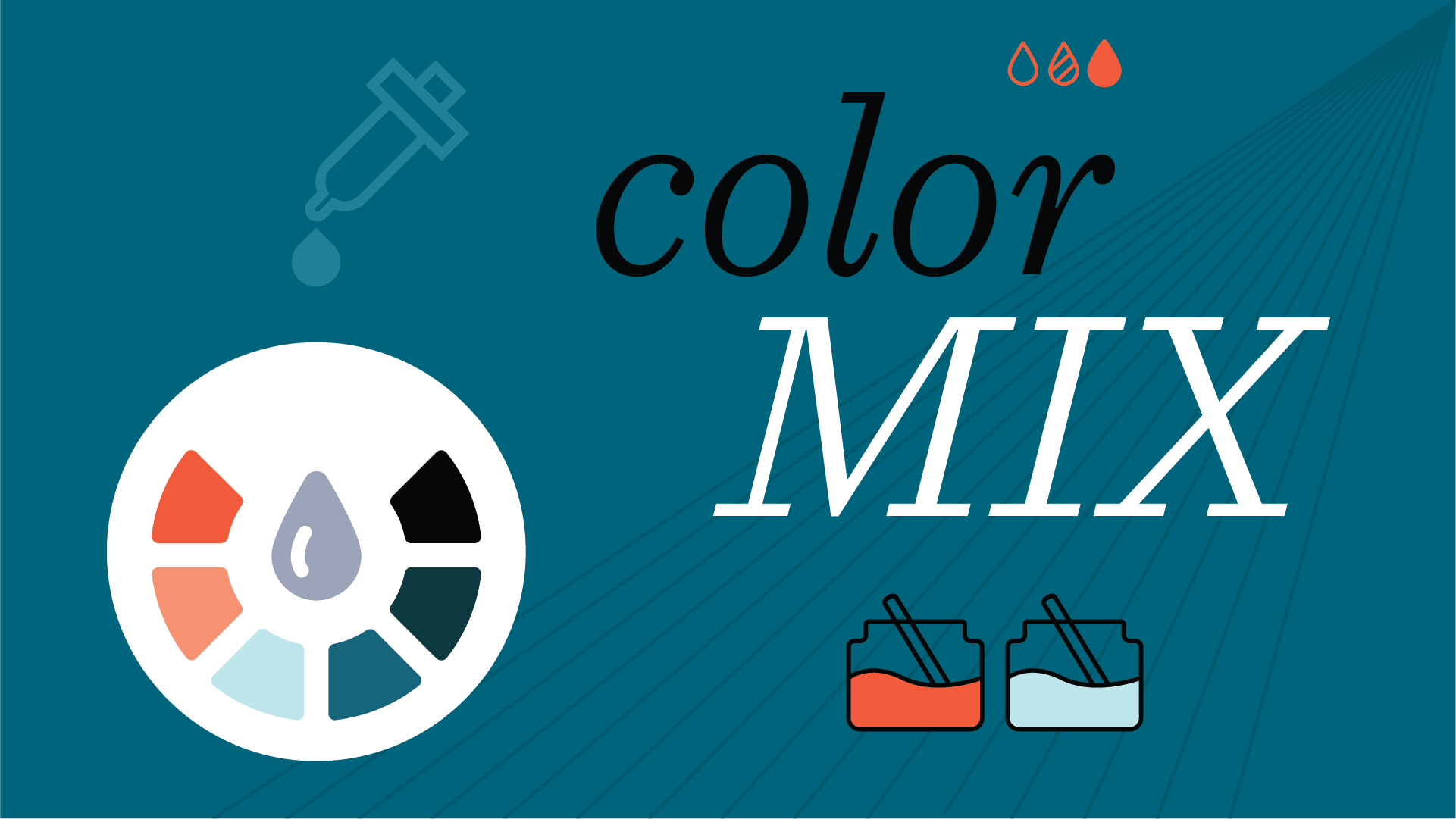 """Graphic illustration of paint dropper and color wheel with words """"Color Mix"""""""