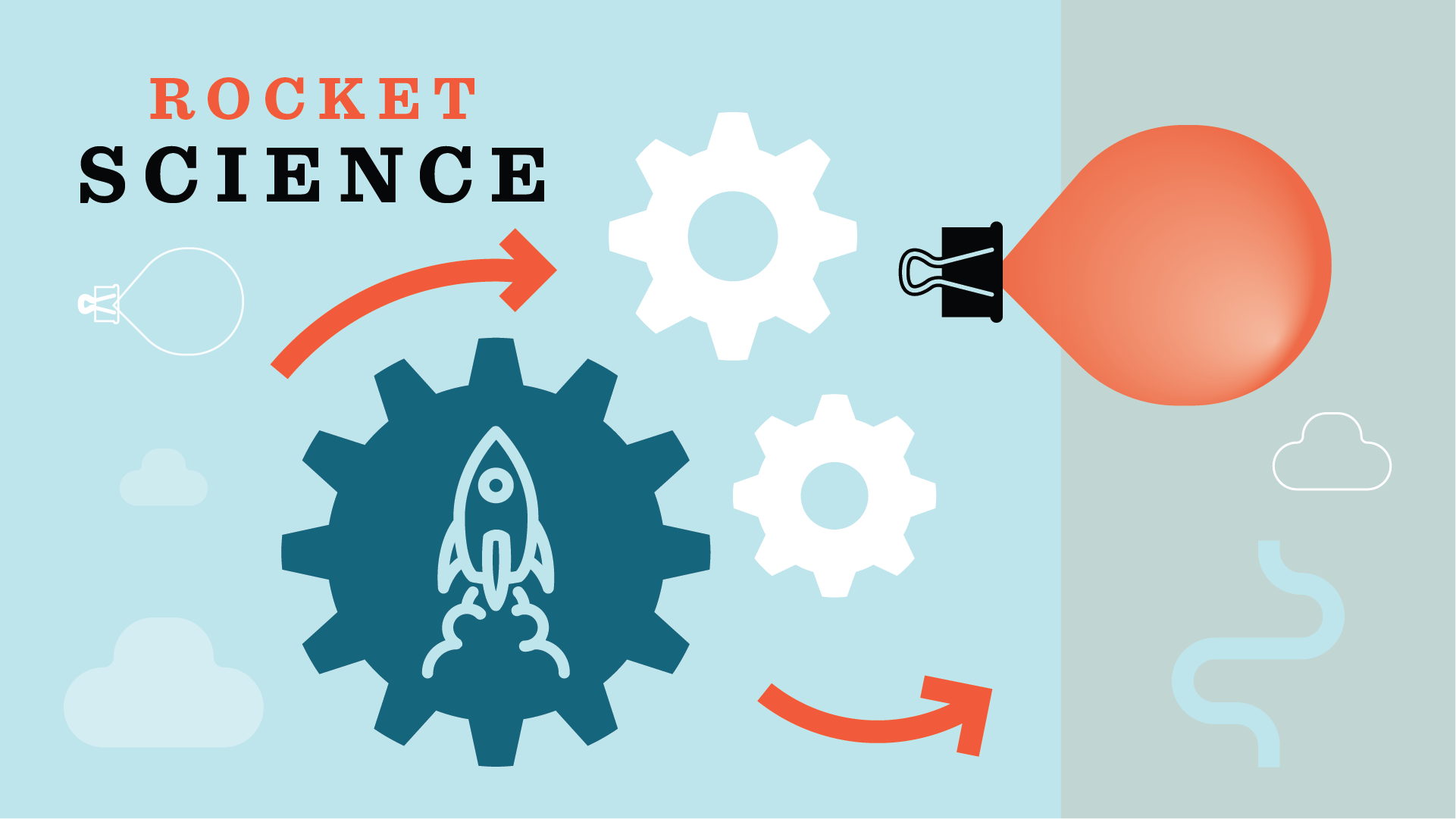 """Graphic showing cogs, balloon, binder clip, clouds and rocket with the words """"Rocket Science"""""""