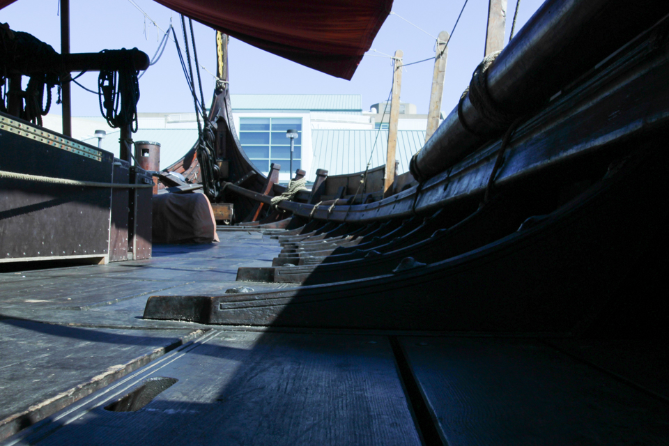 closeup shot of floorboards on Draken viking ship