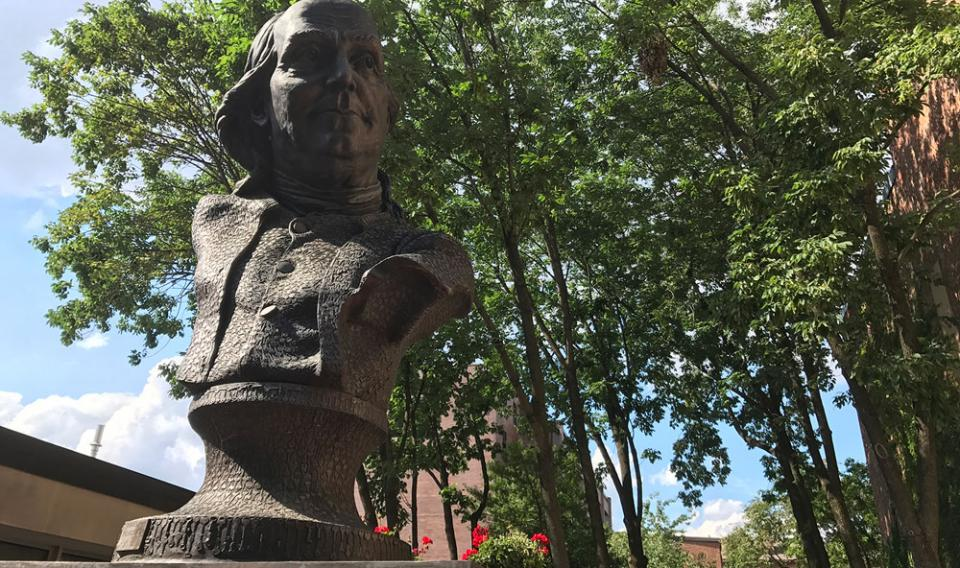 Bust of Benjamin Franklin called Keys to Community