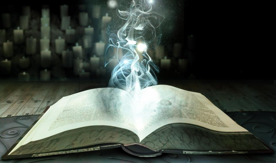 Graphic of smoke rising out of open book for wizard school event