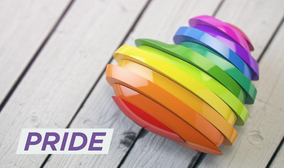"Image of Rainbow heart that reads ""Pride"""