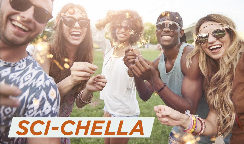 Photo of a group of young adults dressed like they are at a festival having fun with sparklers