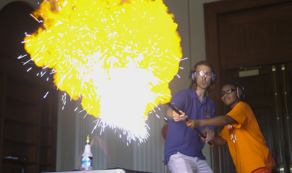 Photograph of a Traveling Science Show interactive explosion experiment
