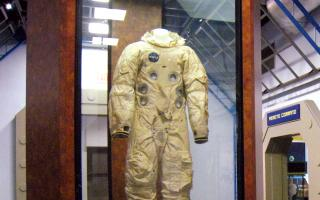 Real astronaut suits in the Space Command exhibit at The Franklin Institute.