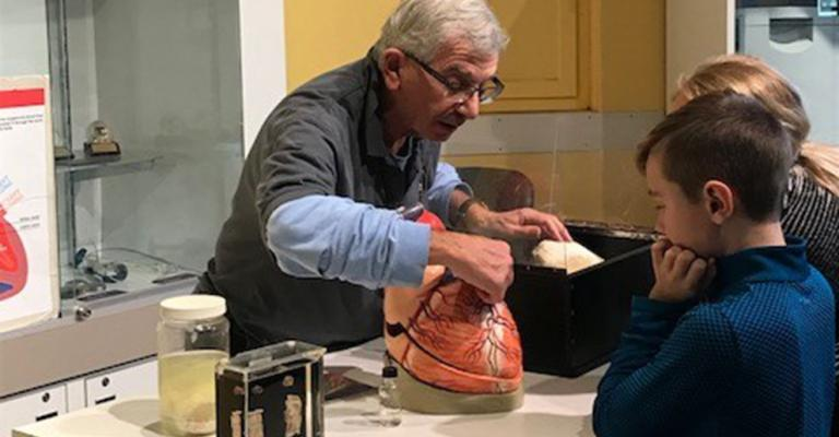 Volunteer Art Friedman gives a demonstration at the Heart Bar at The Franklin Institute